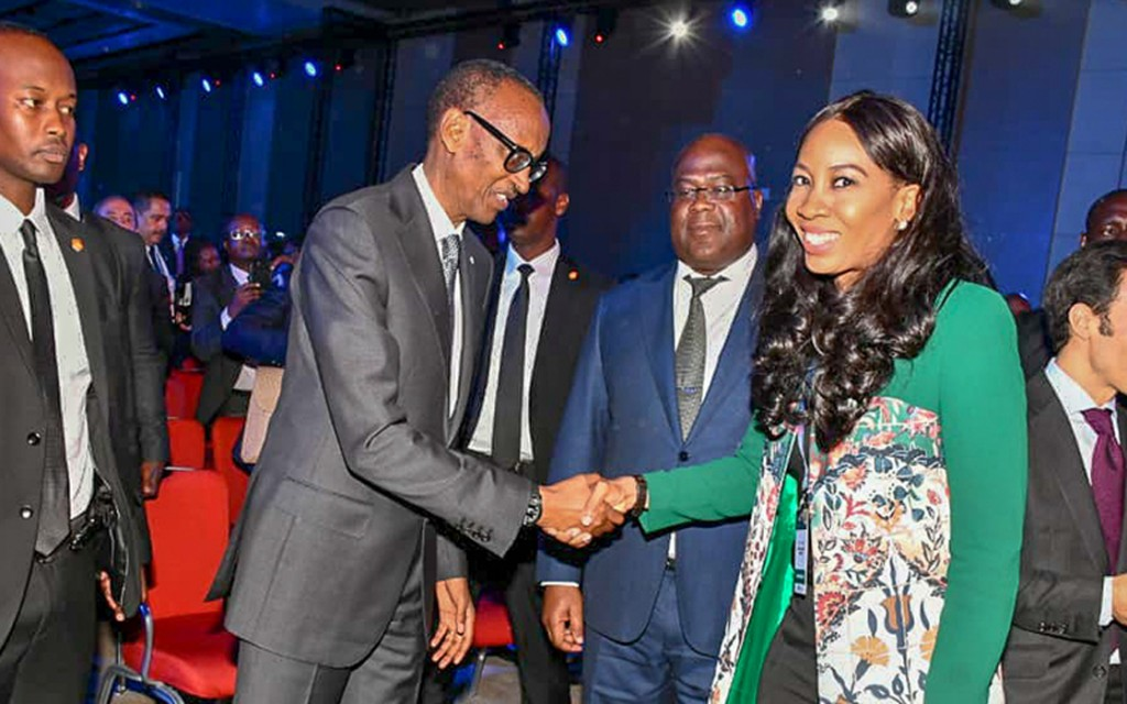 H.E Paul Kagame, President of Rwanda photographed with Pearl Uzokwe, Director Governance & Sustainability photographed with at the 2019 Africa CEO Forum in Kigali, Rwanda. March 26, 2019