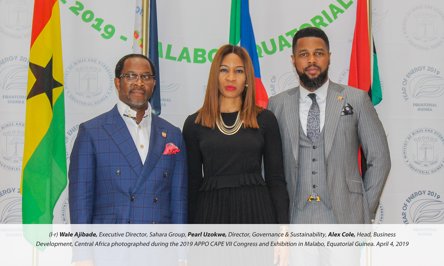 (l-r) Wale Ajibade, Executive Director, Sahara Group, Pearl Uzokwe, Director, Governance & Sustainability, Alex Cole, Head, Business Development, Central Africa photographed during the 2019 APPO CAPE VII Congress and Exhibition in Malabo, Equatorial Guinea. April 4, 2019